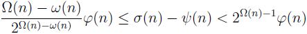 \frac{\Om(n) - \om(n)}{2^{\Om(n) - \om(n)}} \f(n) \leq \si(n) - \psi(n) < 2^{\Om(n)-1} \f(n)